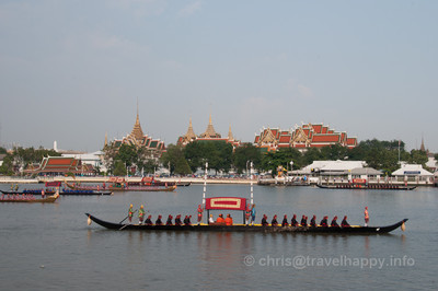 Barges in tight formation in front of the Grand Palace, Royal Barges Procession, Bangkok, Thailand 6 November 2012