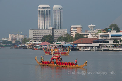 Thong Kwan Fa Barge and Royal Barge Suphannahong, Royal Barges Procession, Bangkok, Thailand 6 November 2012