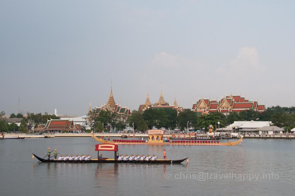 Dang Barge and Royal Barge Anekkacharphuchongin front of the Grand Palace, Royal Barges Procession, Bangkok, Thailand 6 November 2012