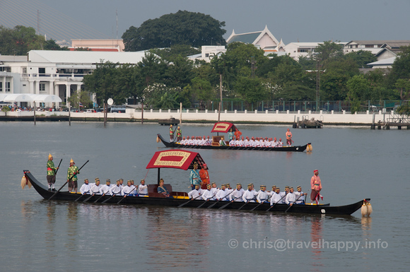 Two Dang Barges sail in formation, Royal Barges Procession, Bangkok, Thailand 6 November 2012