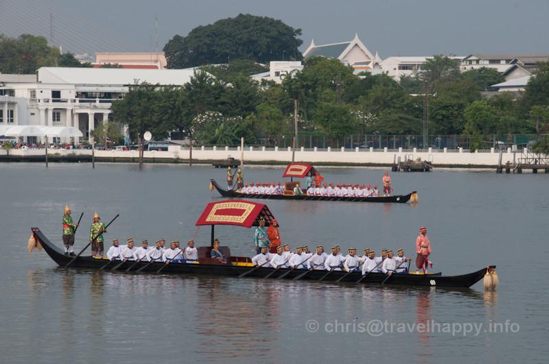 Two Dang Barges sail in formation, Royal Barges Procession, Bangkok, Thailand 6 November 2012