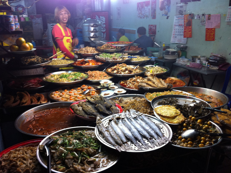 An amazing spread of fresh food ready for Bangkok's street diners in the early evening in Chinatown