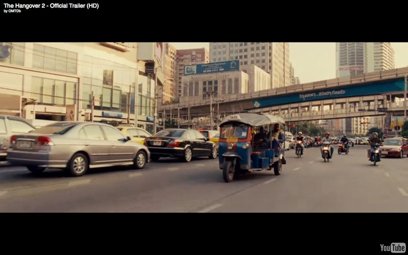 "Bangkok Tuk Tuk Ride  - The Hangover Part 2. Get the full story and location map at Travelhappy's <a href=""http://travelhappy.info/thailand/the-hangover-part-2-visit-the-thailand-locations-from-the-movie/"">Hangover Part 2 Bangkok Location Guide</a>"