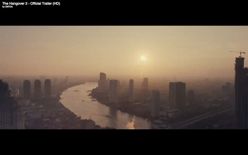 """Bangkok River Skyline At Sunset - The Hangover Part 2. Get the full story at Travelhappy's <a href=""""http://travelhappy.info/thailand/the-hangover-part-2-visit-the-thailand-locations-from-the-movie/"""">Hangover Part 2 Bangkok Location Guide</a>"""