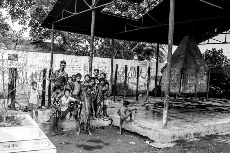 Children at the Hindu cremation ground in Khulna.