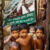 Children in a slum in Dhaka city.