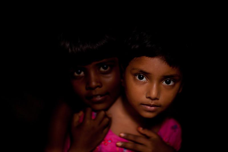 Friends in a slum in Banani, Dhaka.
