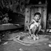 Boy playing in his home.