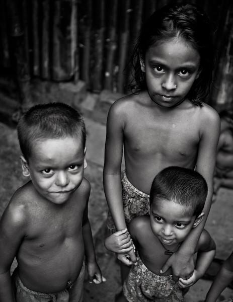 Children in a slum in Dhaka city