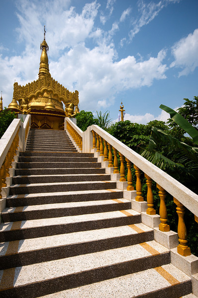 Stairs leading to the main stupa