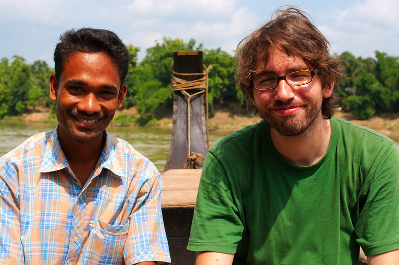 Yann and Suman on the boat to Kaptai