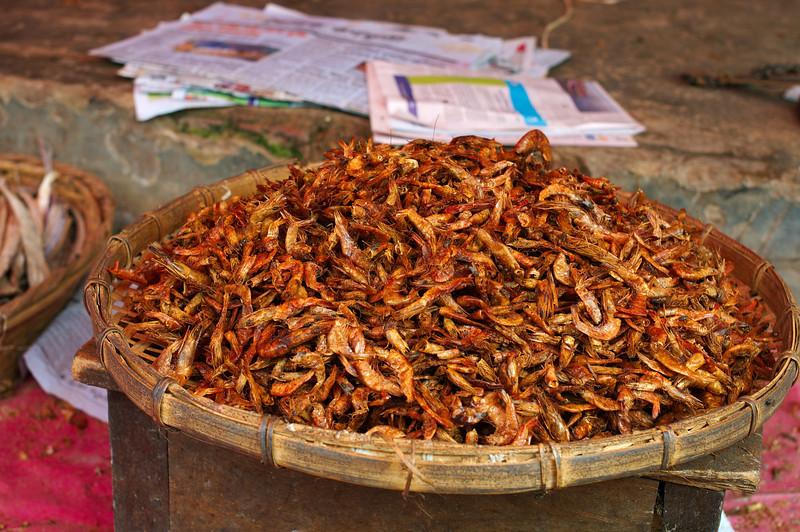 Dried shrimp in the sun