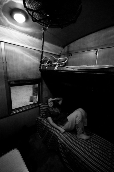 Emilie settles into the amazing train 2-bed cabin leaving Dhaka for Chittagong