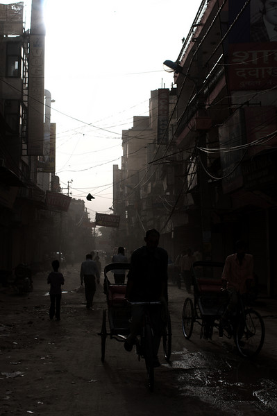Early morning in filthy Pahar Ganj, Delhi's budget travel ghetto.