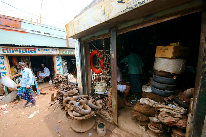 Typical shops in the ship yard district, carrying any used ship part you might need.