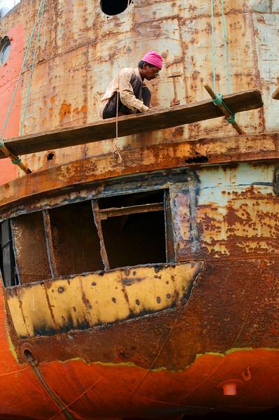 Repairing parts of the ship.