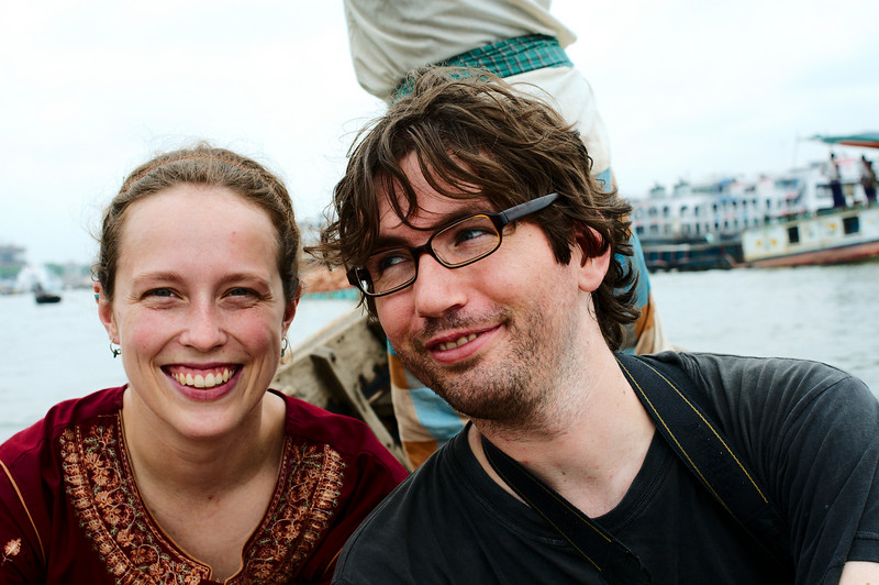 Emilie and Yann enjoying the boat tour. Maybe Yann's safe-o-meter is running higher than Emilie's.