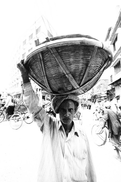 A typical way of transporting goods through the streets of Old Dhaka