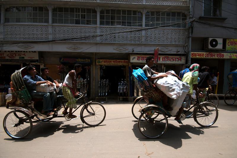Fully-loaded rickshaws