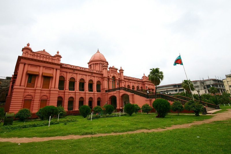 The Pink Palace sits on the banks of the Buriganga River