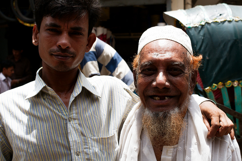 Locals pose for us on the streets of Dhaka