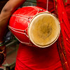 A hijras with the dholak - the sacred double-sided drum that is used during performances.