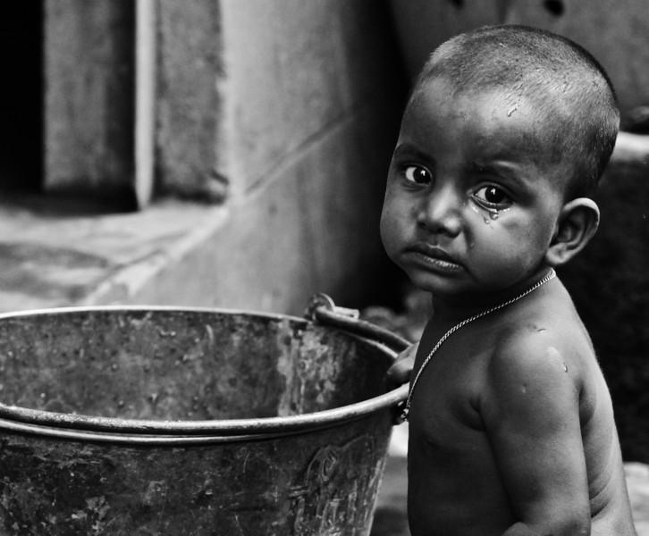 A boy in a slum in Dhaka