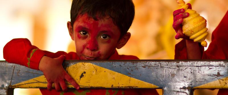 A boy during Durga Puja. Banani, Dhaka.