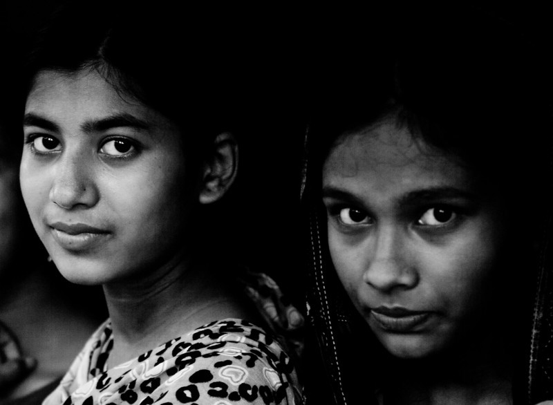 Two young women in a village school in Bagerhat.