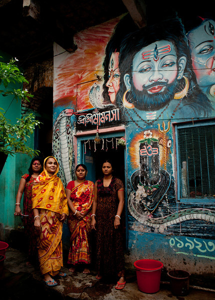 Hindu women in a court yard in Old Dhaka.