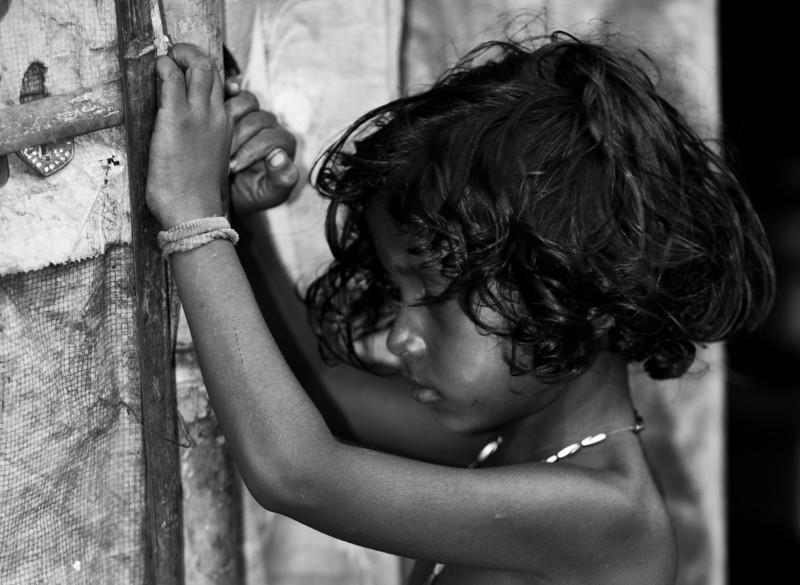 A girl in a slum.