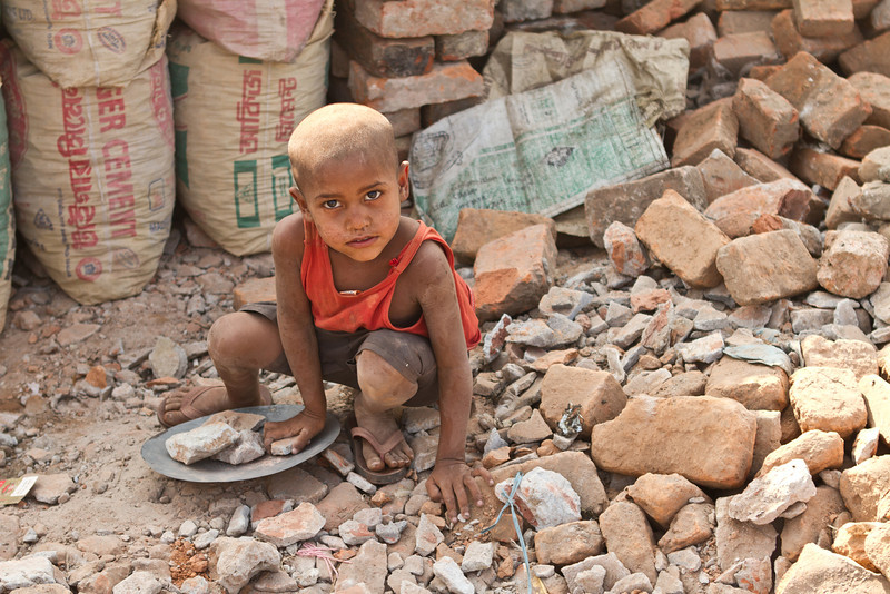 A boy at work in Dhaka city.