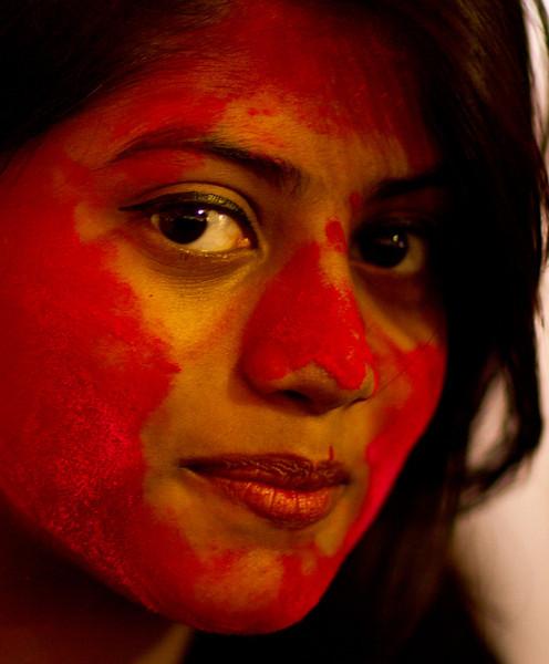 A woman who celebrates Durga Puja.