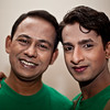 Men in Green - two gays before a performance in Dhaka.