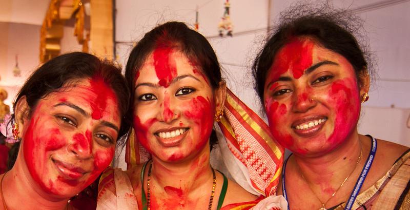 Women celebrating Durga Puja in Banani.