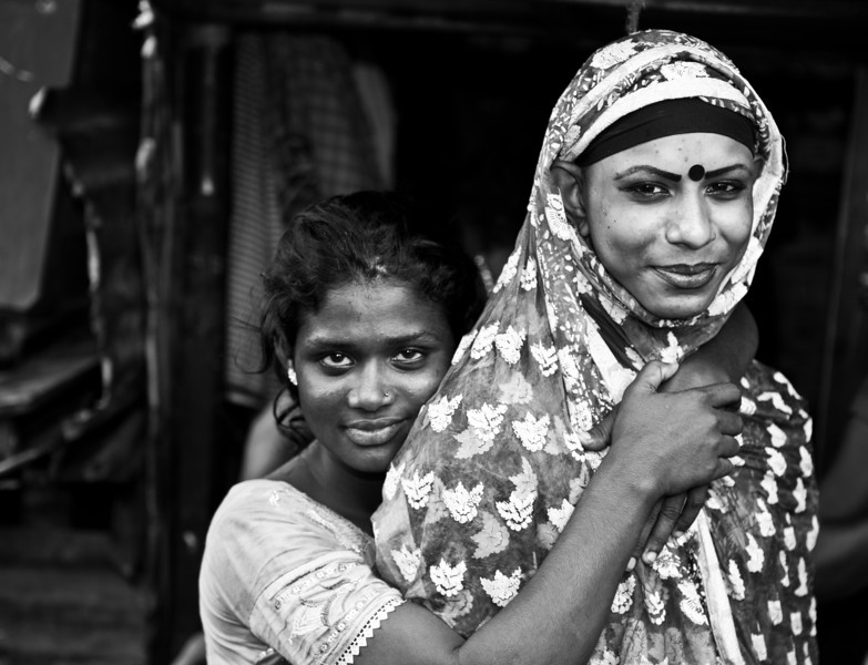 A transgender and girl in a slum in Dhaka city.