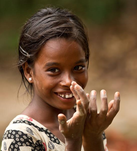 A girl who lives in a Hindu pottery village outside Shreemangol.