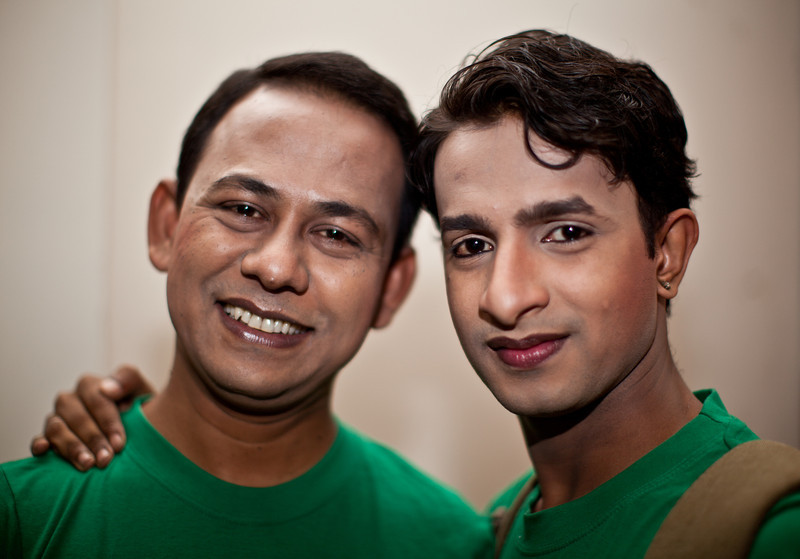 Two gays ready to entertain an audience in Dhaka