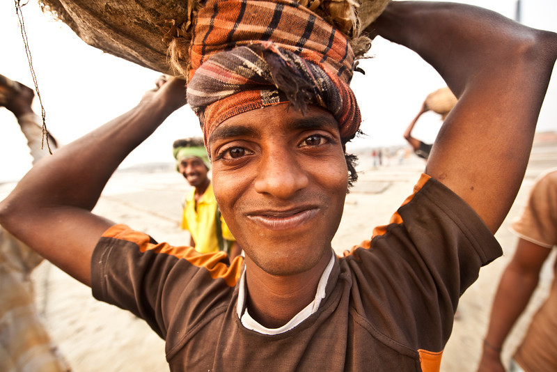 A worker on a brick kiln site outside Dhaka