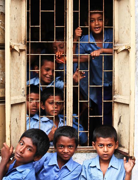 Boys attending Saturday school
