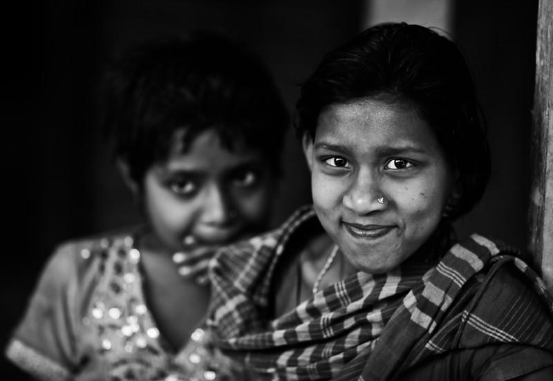 Girls in a slum in Dhaka