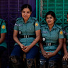 Female police officers waiting for demonstrators during a Hartal in Dhaka. In the name of gender equality it now also the turn of women to take care of violent men in the streets of Dhaka.