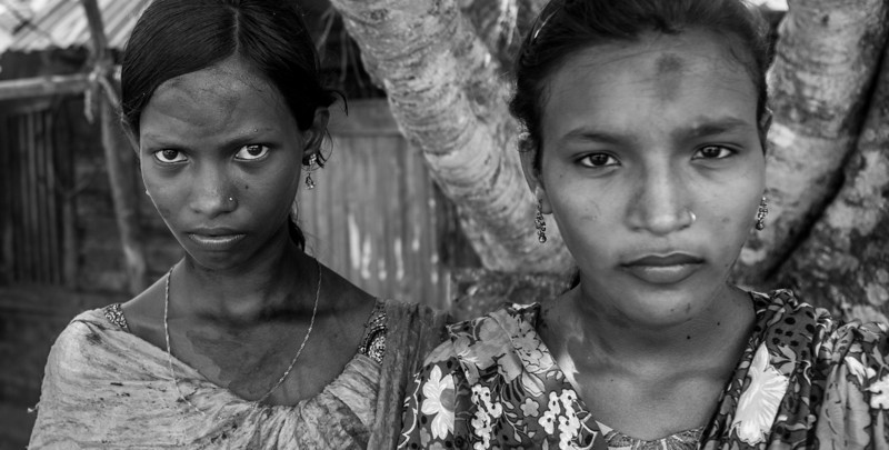 Two girls in a remote village in Southern Bangladesh.