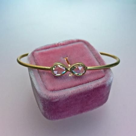 1.05ctw Rose Cut Diamond Twin Stone Bangle