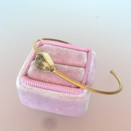 1.91ct Rustic Rose Cut Diamond Bangle in Yellow Gold