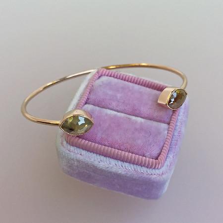 2.11ctw Rustic Rose Cut Diamond Twin Stone Bangle ($1695)