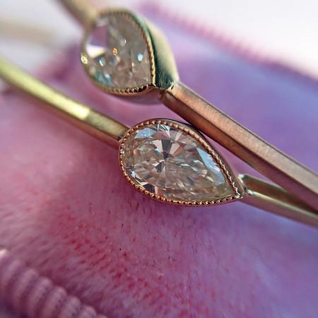 .45/.45 Pear Shape Diamond Single Stone Bangle Pair