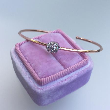 .64ct Antique Cushion Cut Diamond Single Stone Bangle (PRESALE PRICE: $1095)