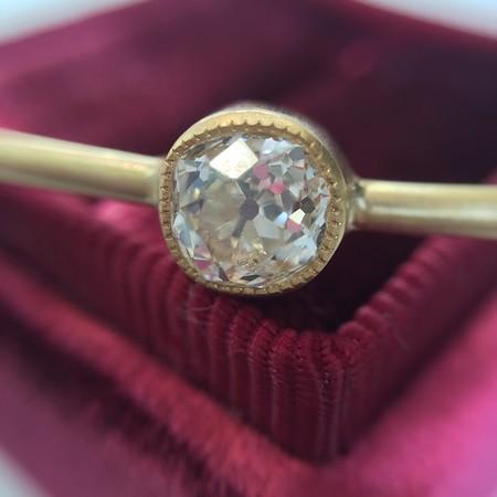 .83ct Old Mine Cut Diamond Single Stone Bangle