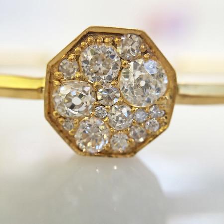 .95ctw Octagon Diamond Mosaic Bangle, Yellow Gold